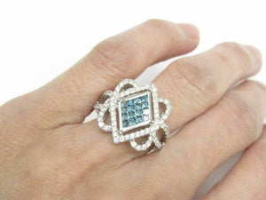 1.30 TCW Natural Round Blue & White Diamonds Square Cocktail Ring Size 7 14kt WG