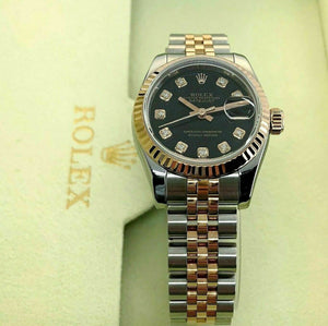 Rolex 26MM Lady Datejust 18K Rose Gold Steel Watch Ref # 179171 Factory Dial