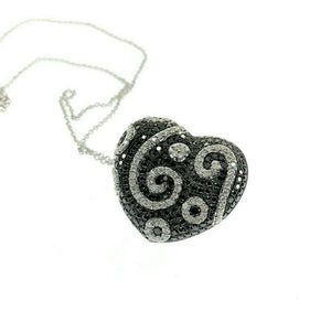3.07 Carats t.w. White and Black Diamond Heart Pendant 14K Gold w 14K Chain