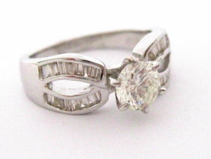 1.19 TCW Round & Baguette Diamonds Engagement/Anniversary Ring Size6.5 H SI1 14k