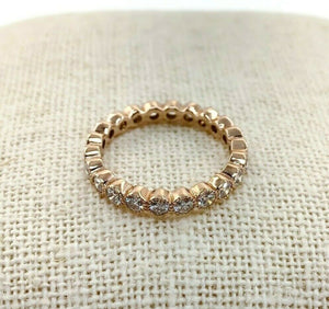 1.14 Carats t.w. Diamond Stack/Eternity Ring 14K Rose Gold Round Diamonds