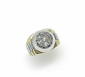 0.80 Carats t.w. VS Diamond Signet Mens Ring 14K Two Tone Gold 12.9 Grams