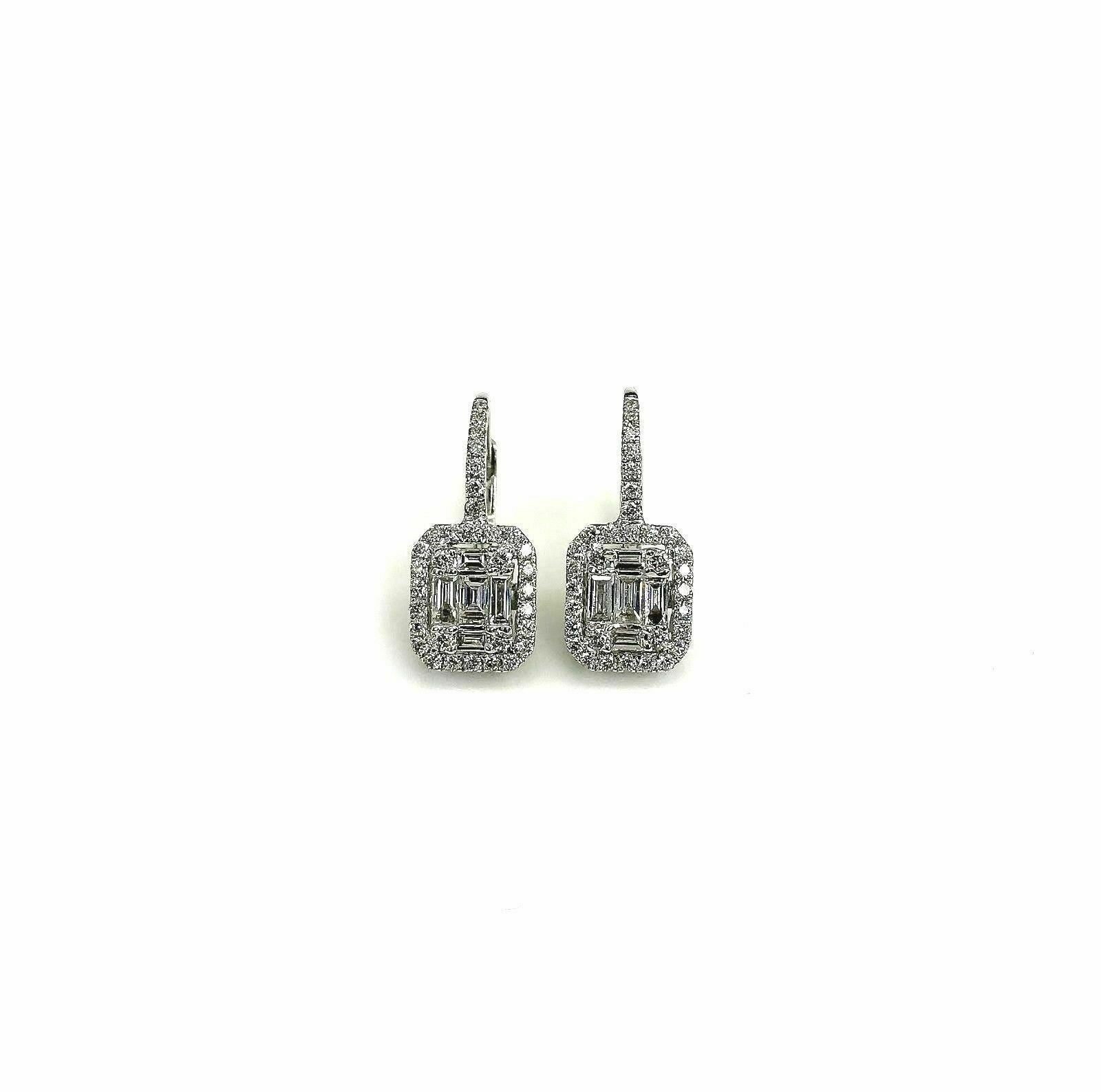 0.90 Carats Invisible Baguette and Round Diamond Halo Earrings 18K White Gold
