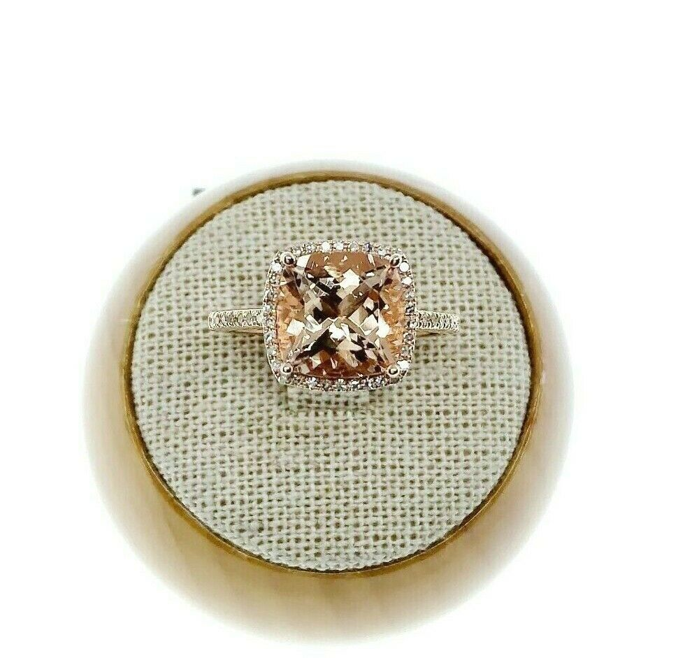 3.35 Carats Diamond and Cushion Morganite Halo Celebration Ring 14K Rose Gold