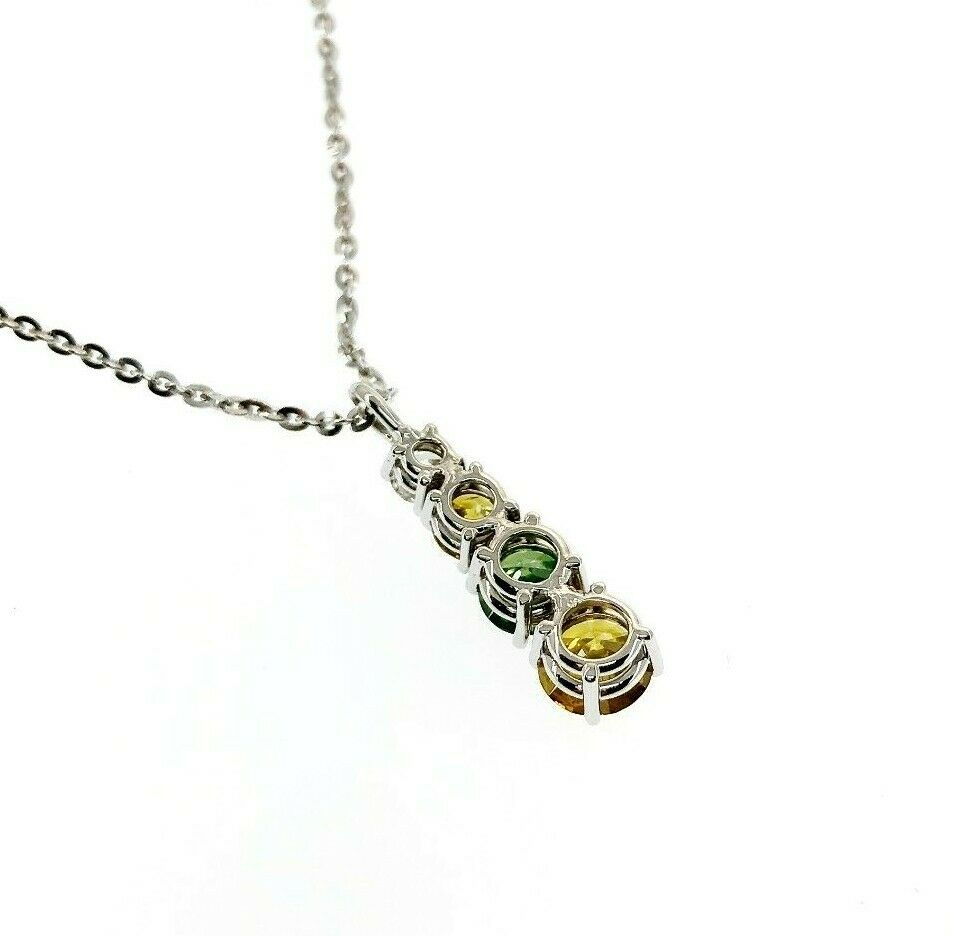 Fine 1.58 Carats t.w. Fancy Yellow, Green and White Diamond Pendant w 14K Chain