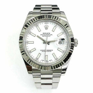 Rolex 41MM Datejust II Watch 18K Fluted Bezel Stainless Steel Ref 116334 w Card