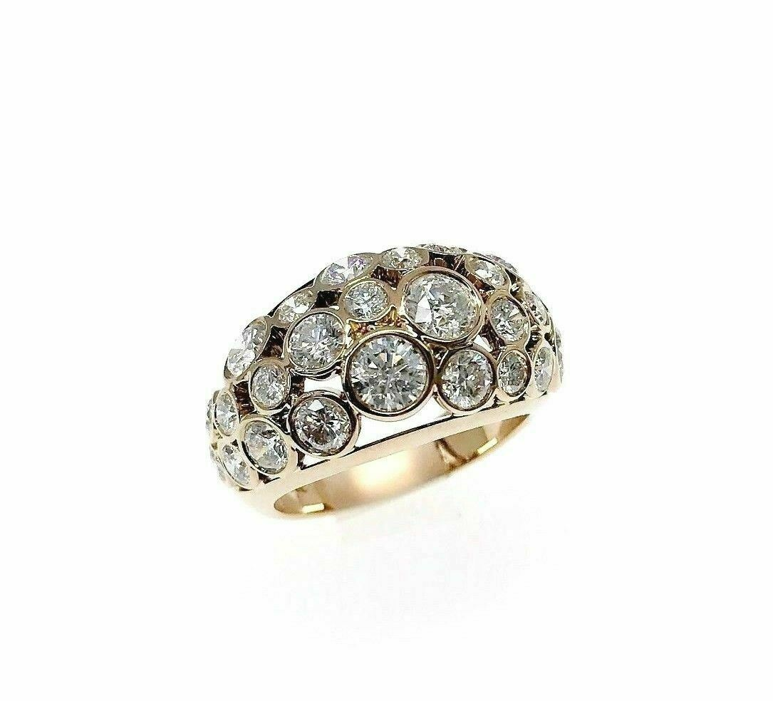 2.87 Carats Handmade 18K Rose Diamond Bezel Set Anniversary / Celebration Ring