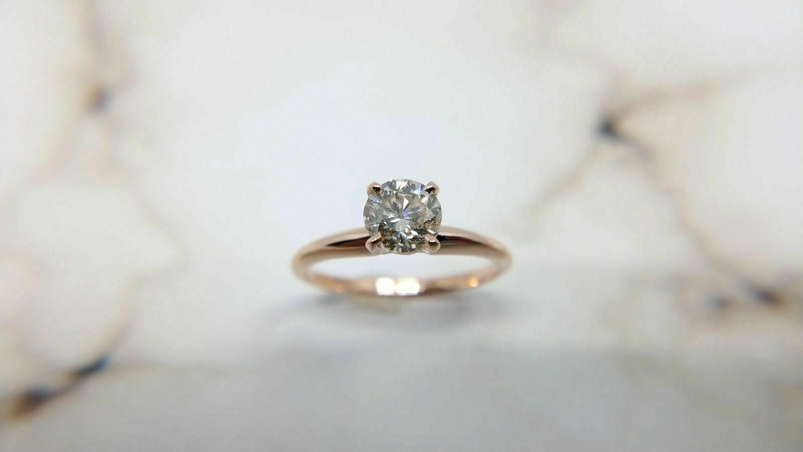 14k Rose Gold Solitaire - Pinkish Brown Diamond Ring