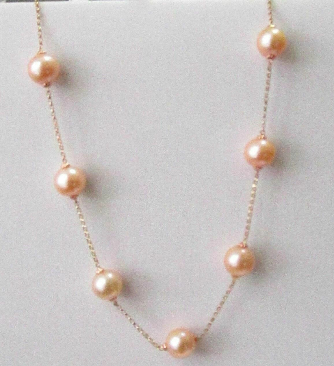 20 Inch Gold Freshwater Pearl String Necklace 10mm 14k Rose Gold