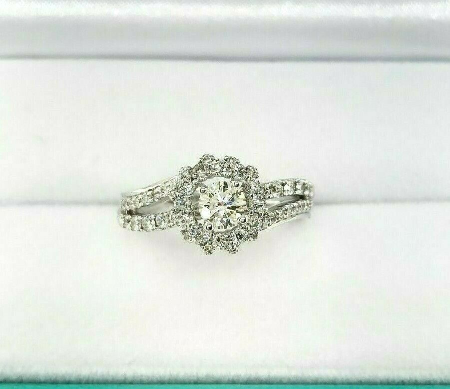 Fine 1.27 Carats t.w. Diamond Halo Bypass Wedding/Engagement Ring 14K Gold