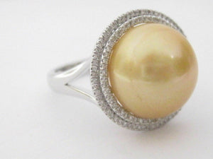 14mm Fresh Water Pearl w/ Diamond Accents Solitaire Ring Size 7 14k White Gold
