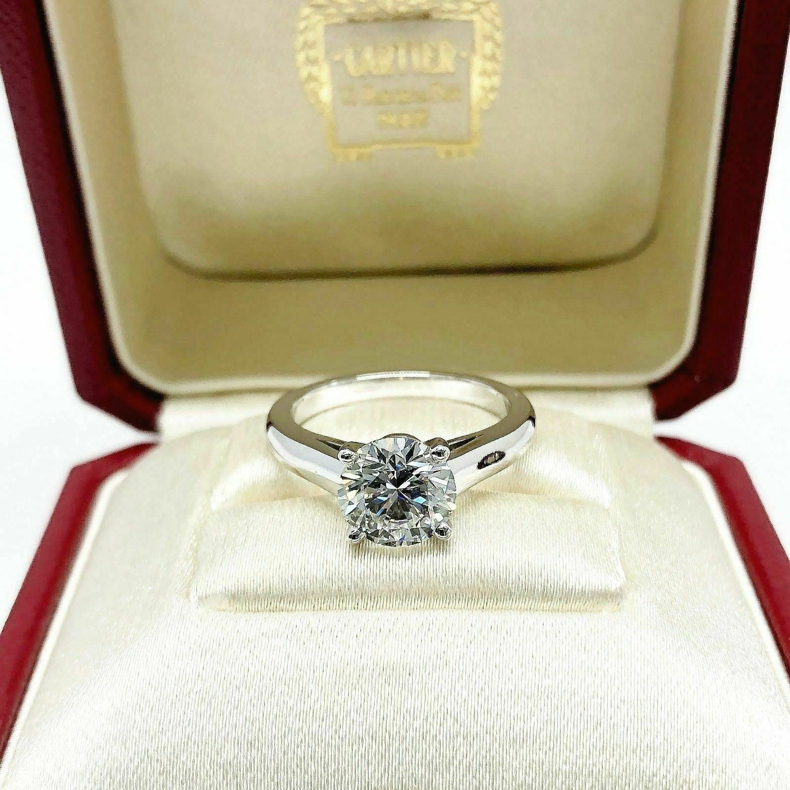 Original Cartier Platinum Ring 2.14 Carats GIA G VS1 Round Diamond Cut w Reciept