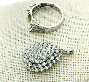 2.68 Carat t.w Large Pear Halo Diamond Pave Ring/Pendant Combo 18K White Gold