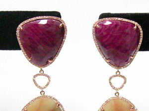 Natural Yellow Sapphire, Red Ruby, & Diamonds Dangle/Drop Earrings 14k Rose Gold