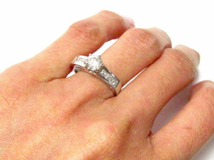1.11 TCW Round & Princess Cut Diamond Engagement Ring Size 6 I SI-2 14k Gold