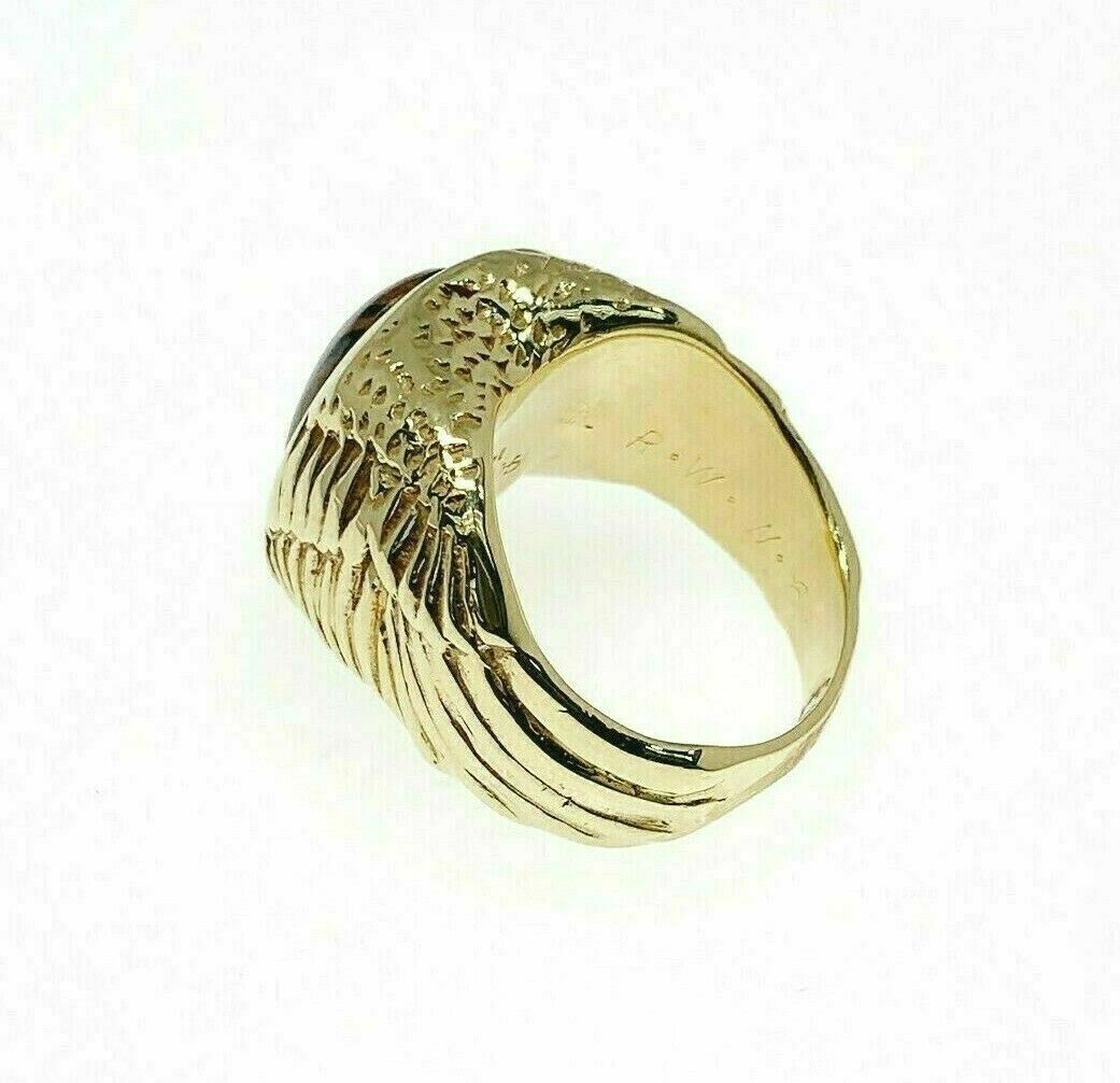 Estate Eagle Wings Chalcedany Mens Ring Solid 14K Yellow Gold 1 oz Solid Gold