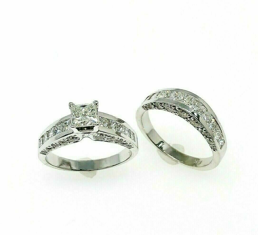 3.75 Carats t.w. Diamond 3 Sided Princess Cuts Wedding Set 0.75 Carat Center 14K