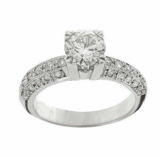 .91Ct Round Diamond Solitaire w/ 3 Rows Accents & Filligree EGL USA Certified