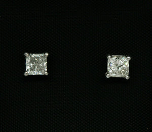 1.15 TCW Princess Cut Diamond Stud Earrings Push Back I-J I1 14k White Gold