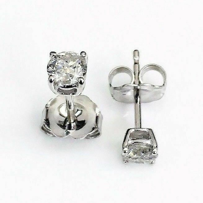 100% Natural Colorless & Shiny .39Ct Diamond Stud Earrings 14KWG 4 Prong Setting