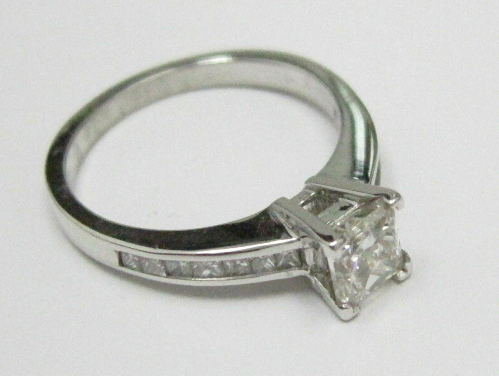 1.23 TCW Princess Cut Diamond Engagement Ring Size 7 H SI-2 14k White Gold