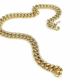 Clioro Solid 18 Karat Yellow Gold Link Necklace 18 Inch 3.64 Ounces 0.50 In Wide
