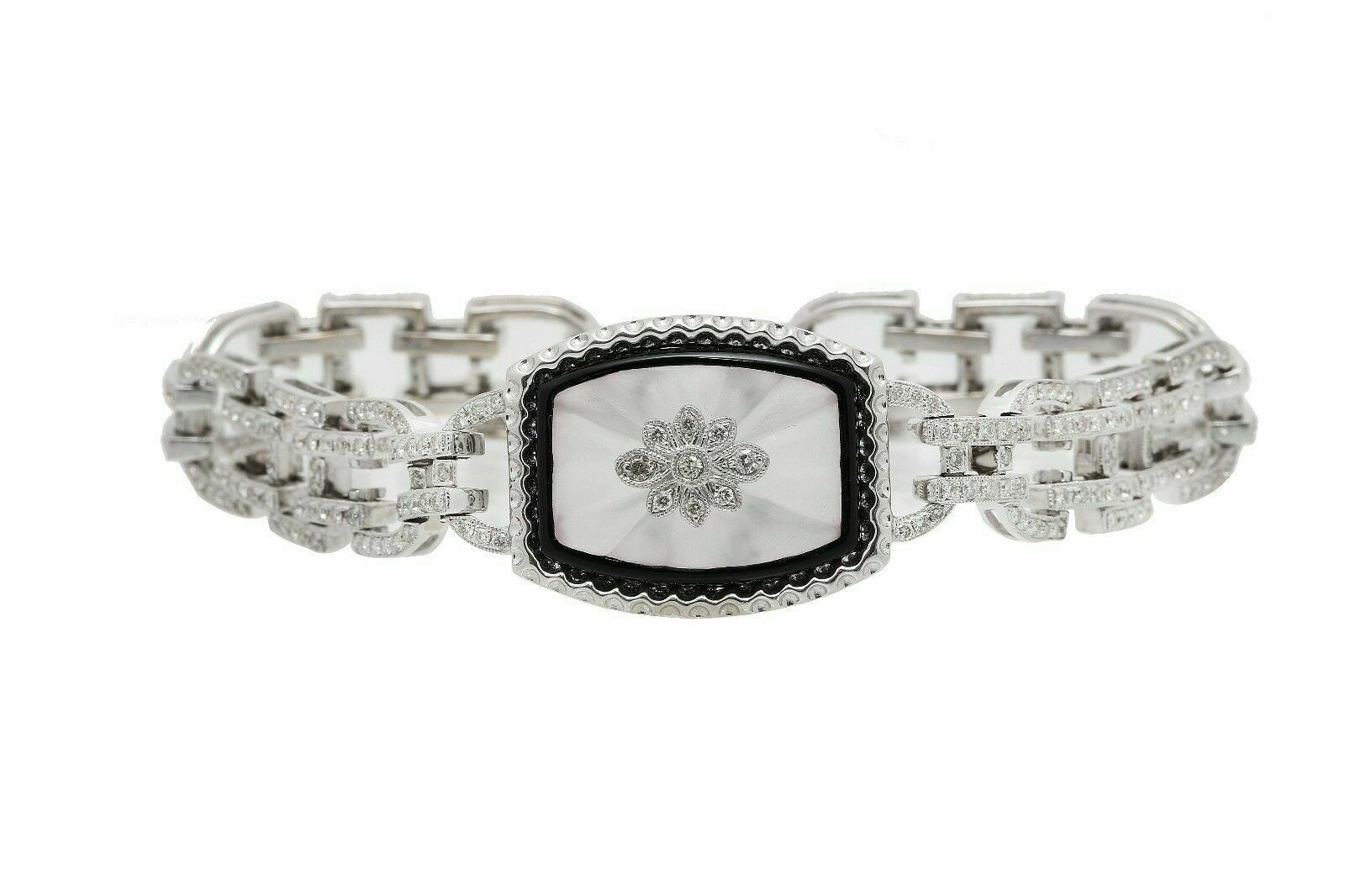 1.90 TCW Art-Deco Round Diamond Tennis Bracelet G VS2 18k White Gold 7.5 In Long