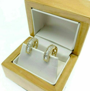 0.80 Carats Baguette and Round Diamond Huggie Hoop Earrings 18K Yellow Gold