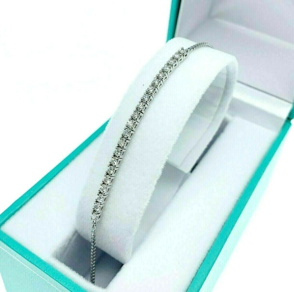 0.72 Carats t.w. Custom Made Round Diamond Adjustable Bracelet 14K White Gold