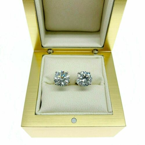 4.35 Carats Total Weight Round Diamond Stud Earrings G.I.A Certified G - H Color