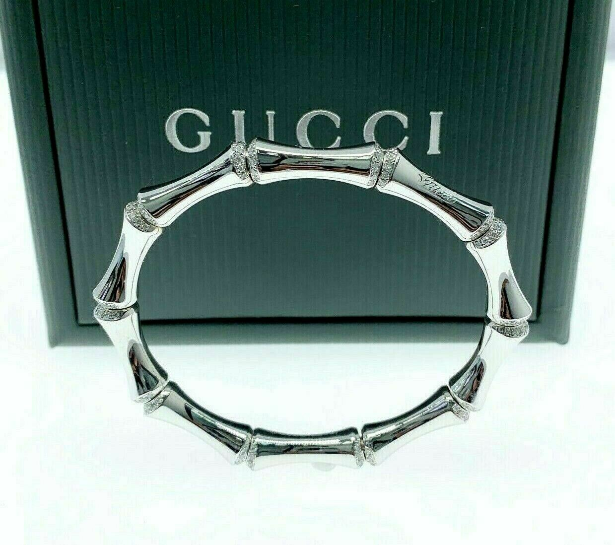 GUCCI Italian Made 18K White Gold Factory Diamond Bamboo Stretch Bracelet Size17