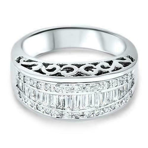 0.85 Carats t.w. Diamond Anniversary /Right Hand Ring 14K Gold 10MM Width