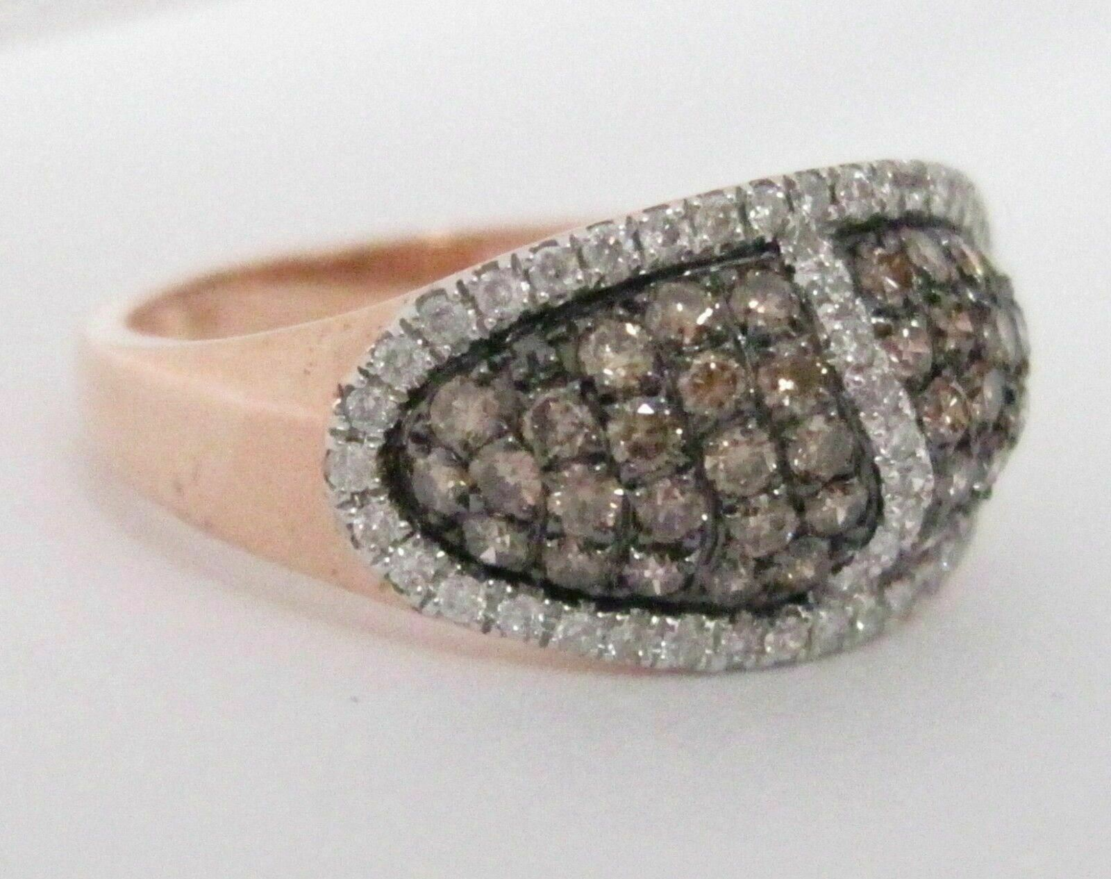 .88 TCW Natural Round Brilliants Champagne Diamond Ring 14k Rose Gold Size 7