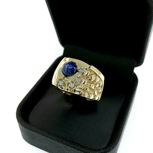 2.10 Carats Mens Nugget Diamond and Blue Star Sapphire Ring 14K Yellow Gold