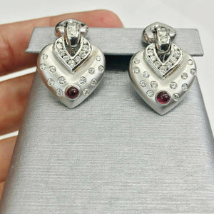 1.75 ct Diamond and Ruby Heart Drop Earrings in 14K White Gold