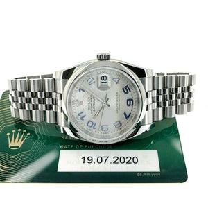 Rolex 36MM Datejust Watch Stainless Steel Ref # 116200 Box and July 2020 Card