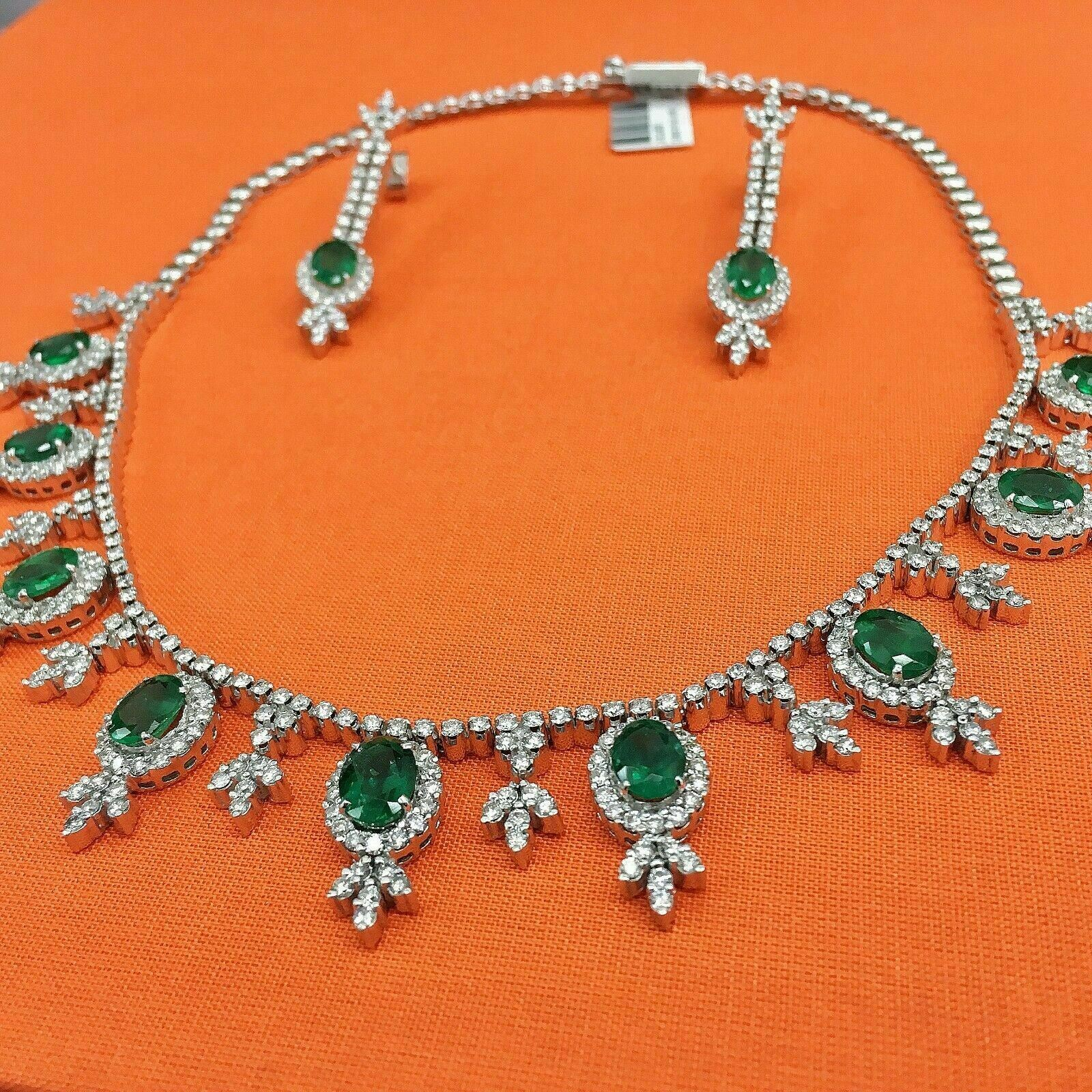 24.26 Carats t.w. Diamond and Emerald Ballroom Necklace Earrings Set 73.6 GM 18K