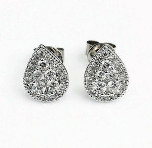 0.71 Carat t.w. Diamond Halo Invisible Set Earrings 18K White Gold Brand New