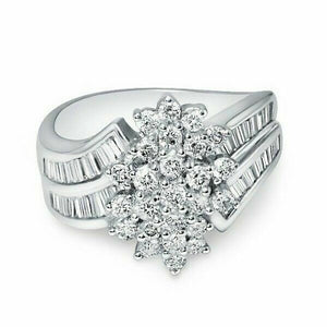 1.43 TCW Round Diamond Flower Setting with Baguette Accents 18k White Gold Ring