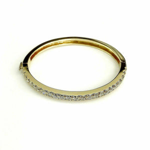 3.60 Carats t.w. Diamond Bangle Bracelet E - F VS 14K Yellow Gold Made in USA