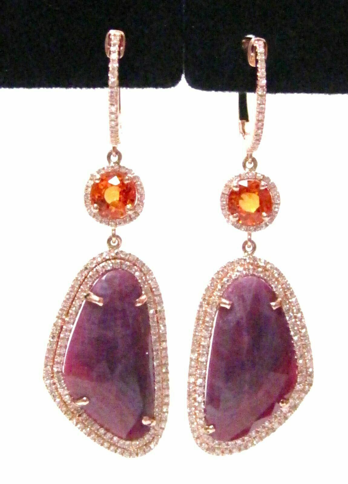 16.20 TCW Ruby & Sapphire w/ Diamond Accents Dangle/Drop Earrings 14k Rose Gold