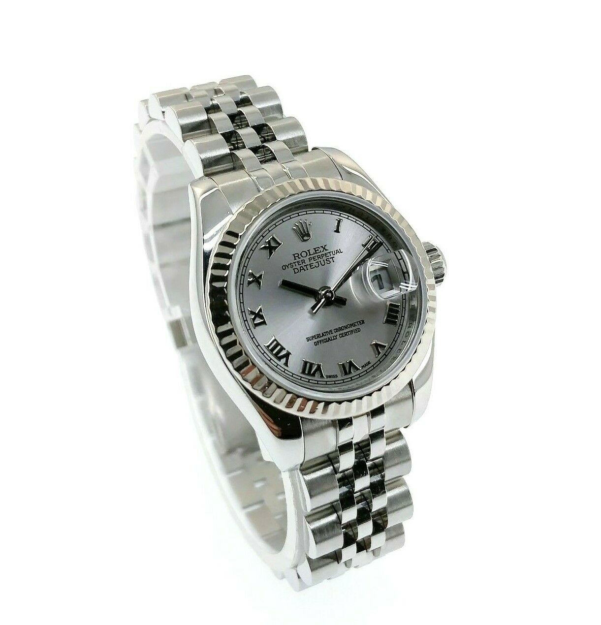 Rolex 26MM Lady Datejust 18 Karat White Gold Steel Watch Ref # 179174 Box Papers
