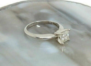 1.00CT AGS Certified F-G/SI2 Princess Cut Diamond Solitaire Platinum Ring