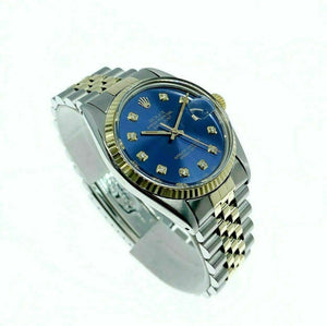Rolex 36MM Datejust Diamond Watch 14K Yellow Gold Stainless Steel Ref 16013