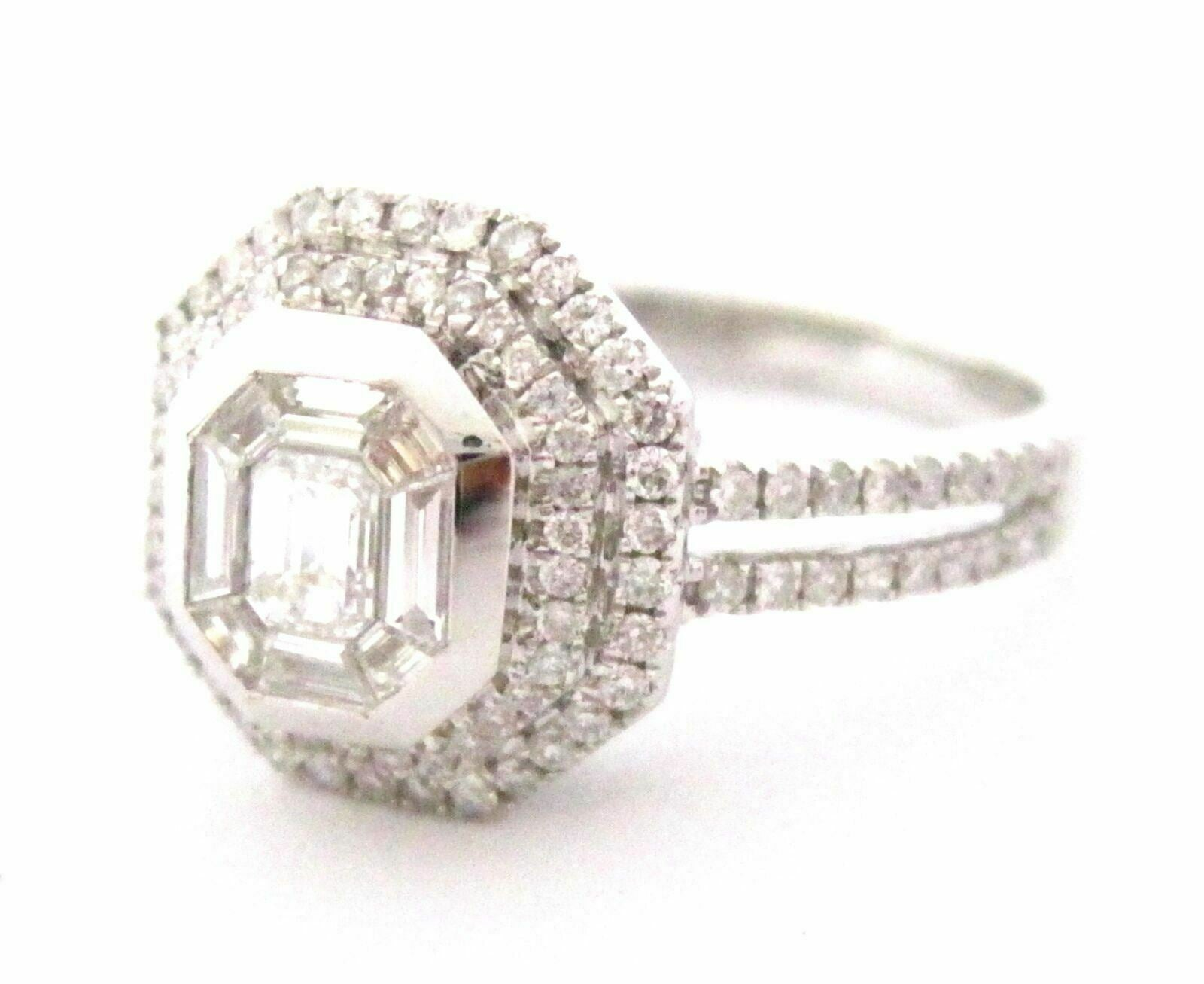 .90 TCW Baguette&Round Diamonds Solitaire Engagement Ring G VS2 Size 6.5 18k WG