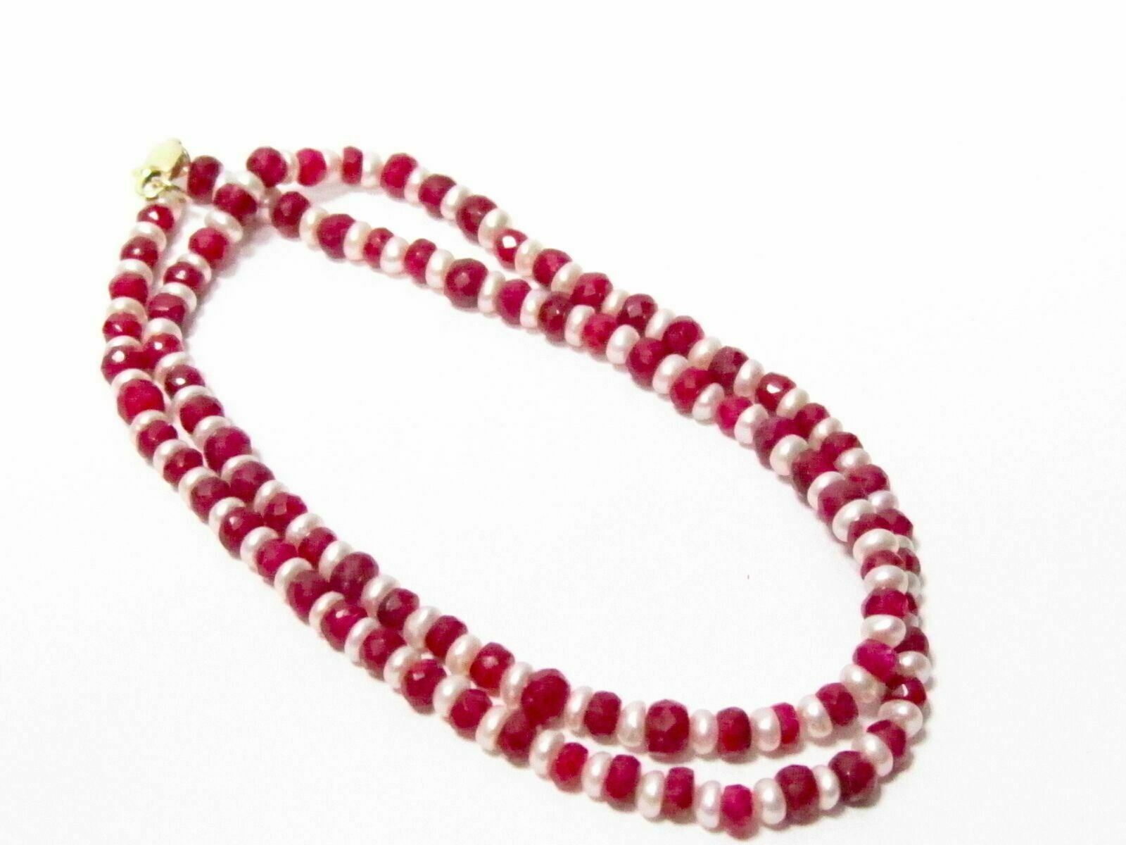 83 TCW Natural White Pearl & Red Ruby String/Strand Necklace 17 inches 14k Gold