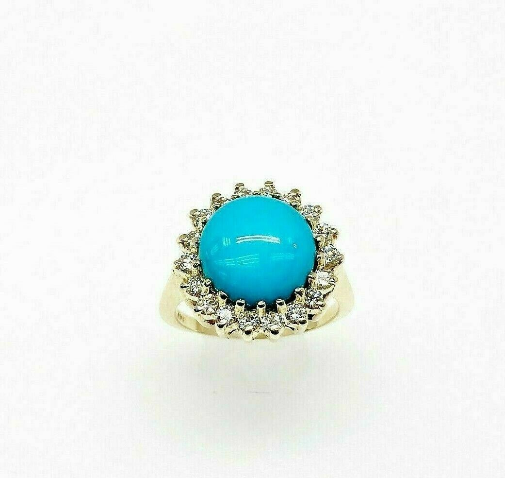 0.85 Carats Diamond and 11 MM Natural BlueTurquoise Halo Ring 14K Yellow Gold