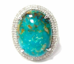 13.51 TCW Oval Turquoise & Diamond Accents Solitaire Ring Size 7 14k White Gold