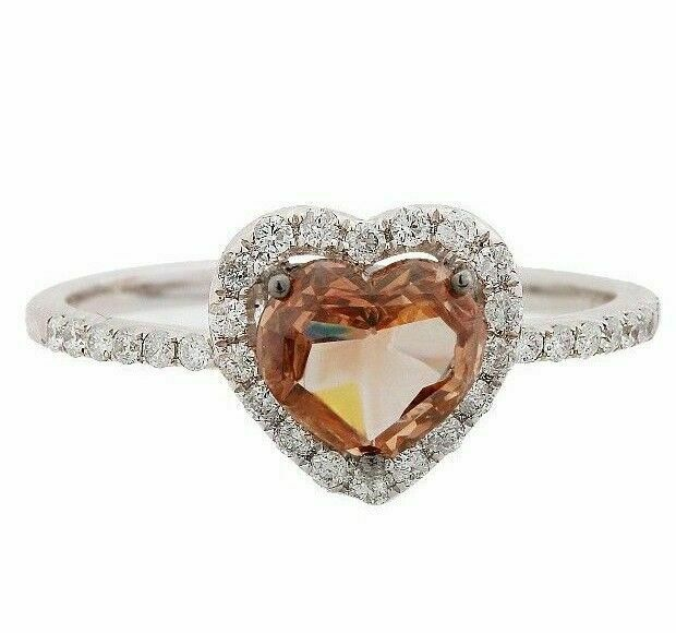 1.27Ct Natural Fancy Fancy Brown Heart Shape Diamond Ring Size 7 14k White Gold