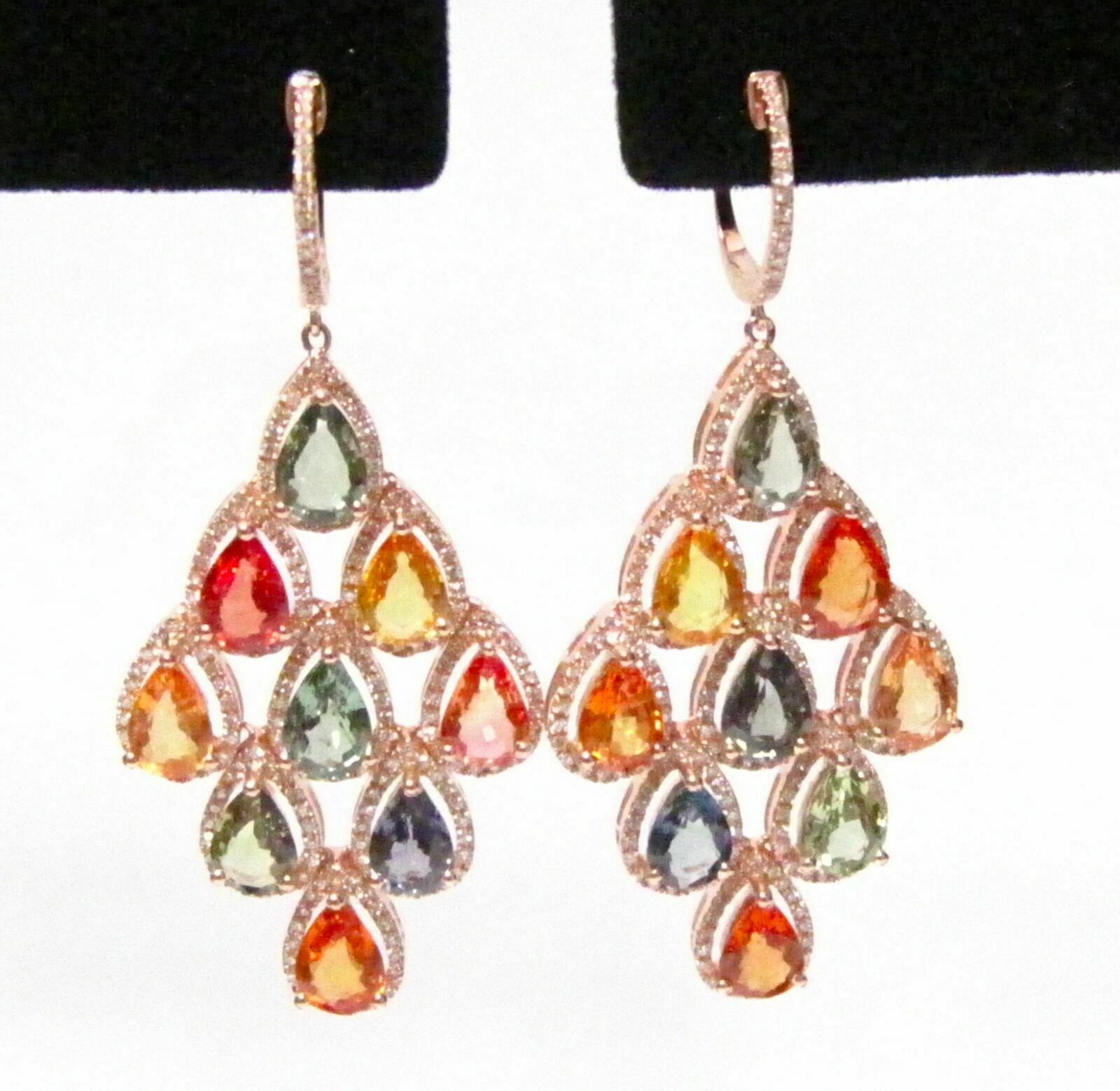 14.70 Tcw Multi-Color Sapphires & Diamond Chandlier Earrings 14k Rose Gold